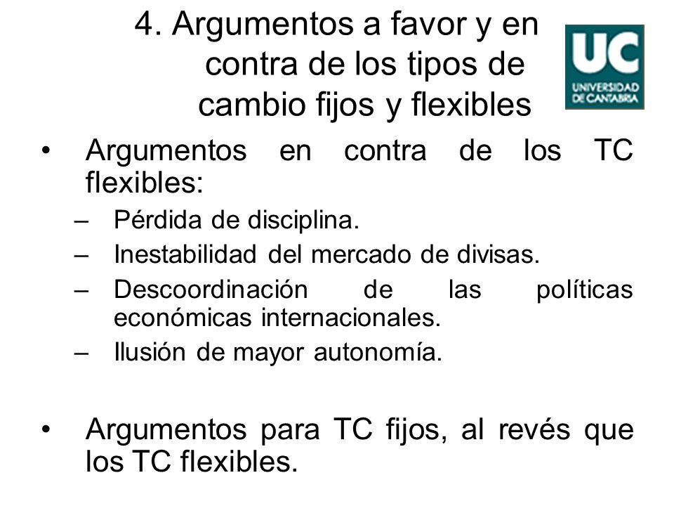 4. Argumentos a favor y en contra de los tipos de cambio fijos y flexibles Argumentos en contra de los TC flexibles: –Pérdida de disciplina. –Inestabi