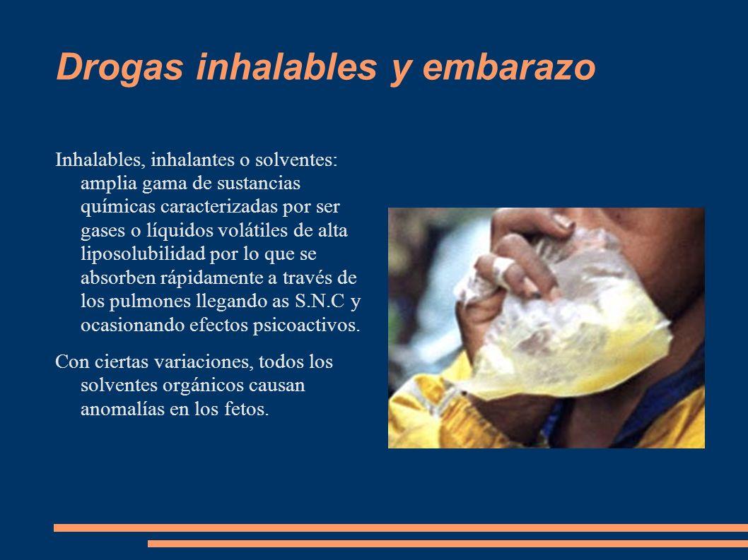 Drogas inhalables y embarazo Inhalables, inhalantes o solventes: amplia gama de sustancias químicas caracterizadas por ser gases o líquidos volátiles