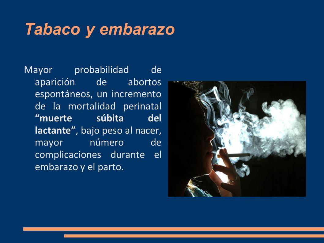 Tabaco y embarazo Mayor probabilidad de aparición de abortos espontáneos, un incremento de la mortalidad perinatal muerte súbita del lactante, bajo pe