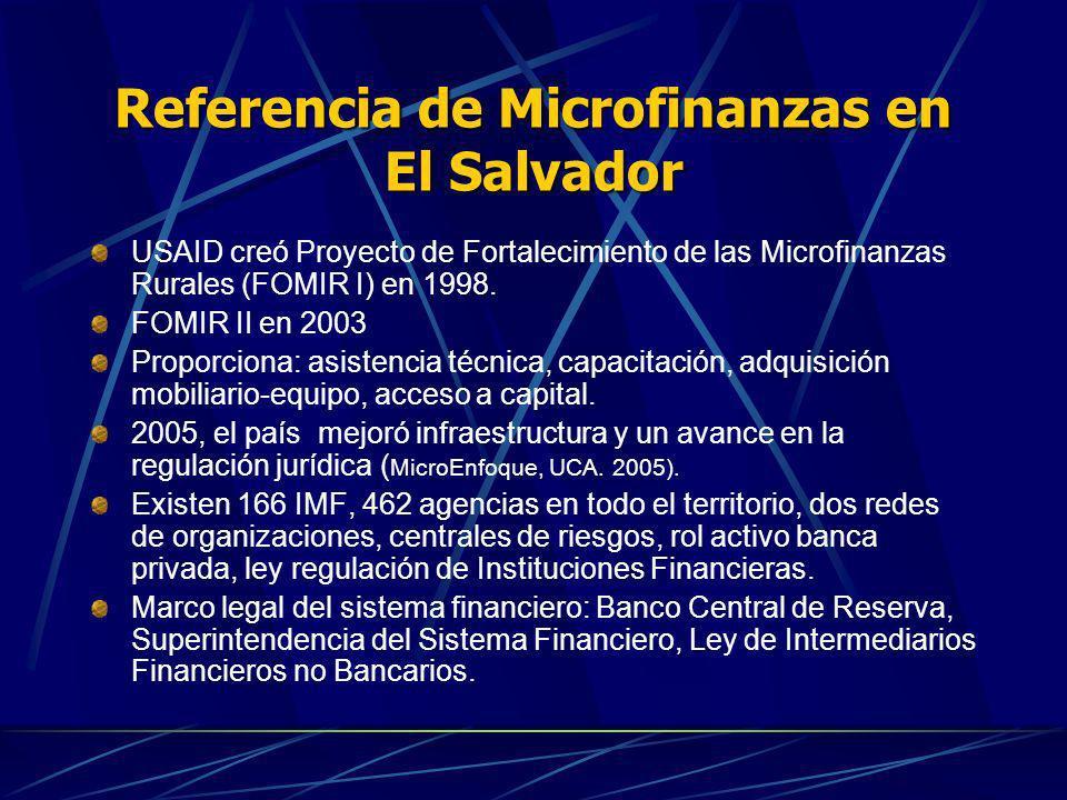 Referencia de Microfinanzas en El Salvador USAID creó Proyecto de Fortalecimiento de las Microfinanzas Rurales (FOMIR I) en 1998. FOMIR II en 2003 Pro