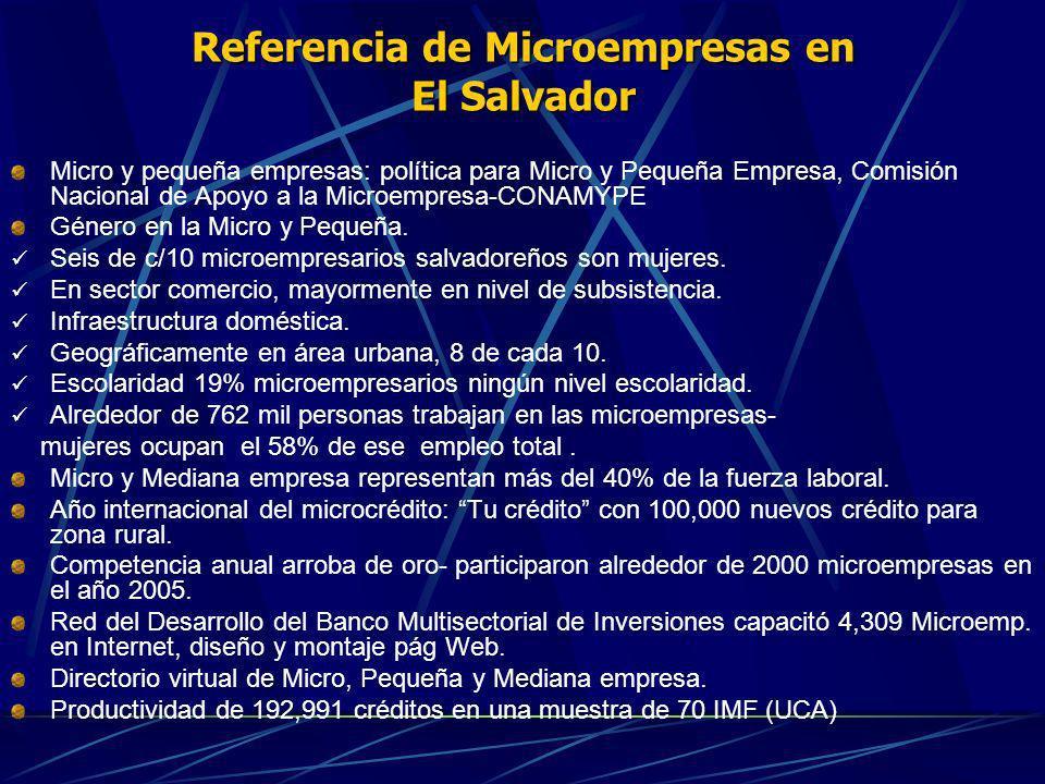 Referencia de Microempresas en El Salvador Micro y pequeña empresas: política para Micro y Pequeña Empresa, Comisión Nacional de Apoyo a la Microempre