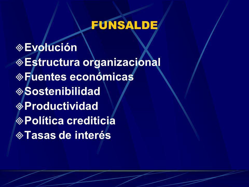 FUNSALDE Evolución Estructura organizacional Fuentes económicas Sostenibilidad Productividad Política crediticia Tasas de interés