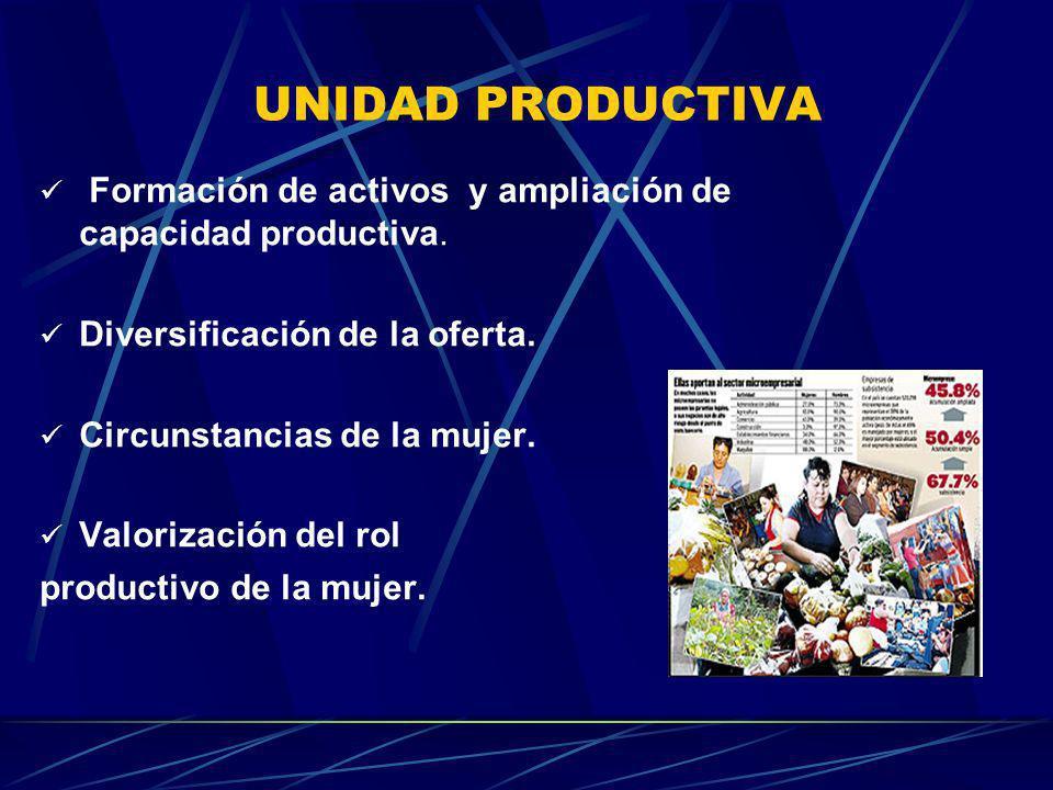 UNIDAD PRODUCTIVA Formación de activos y ampliación de capacidad productiva. Diversificación de la oferta. Circunstancias de la mujer. Valorización de