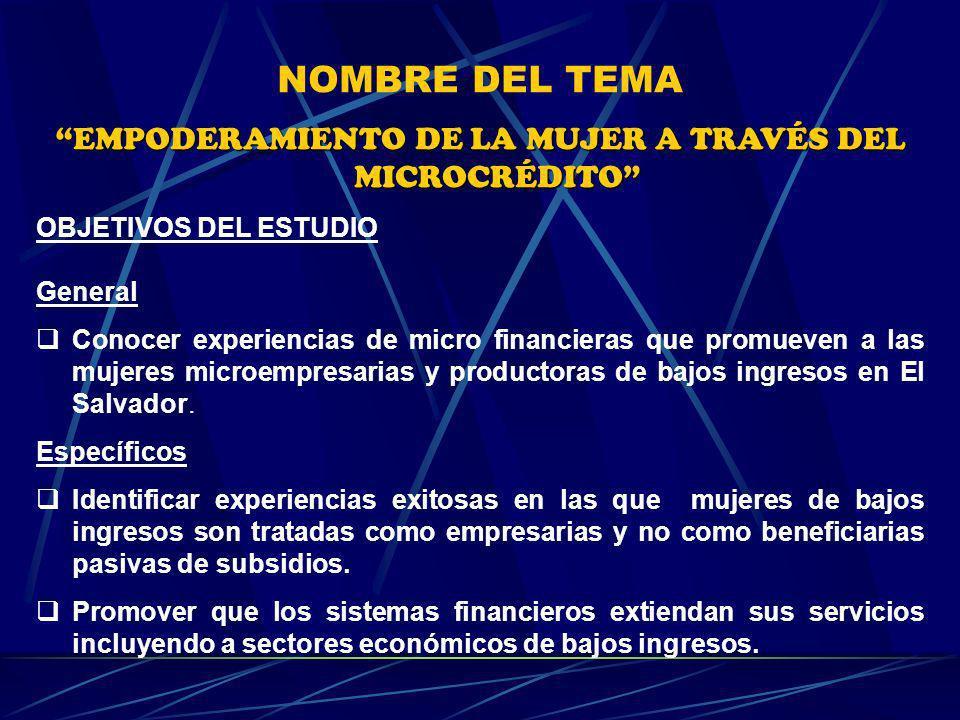JUSTIFICACIÓN La conveniencia de este estudio radicó en el establecimientos de vínculos con mujeres microempresarias e instituciones financieras que atienden el sector de microempresas.