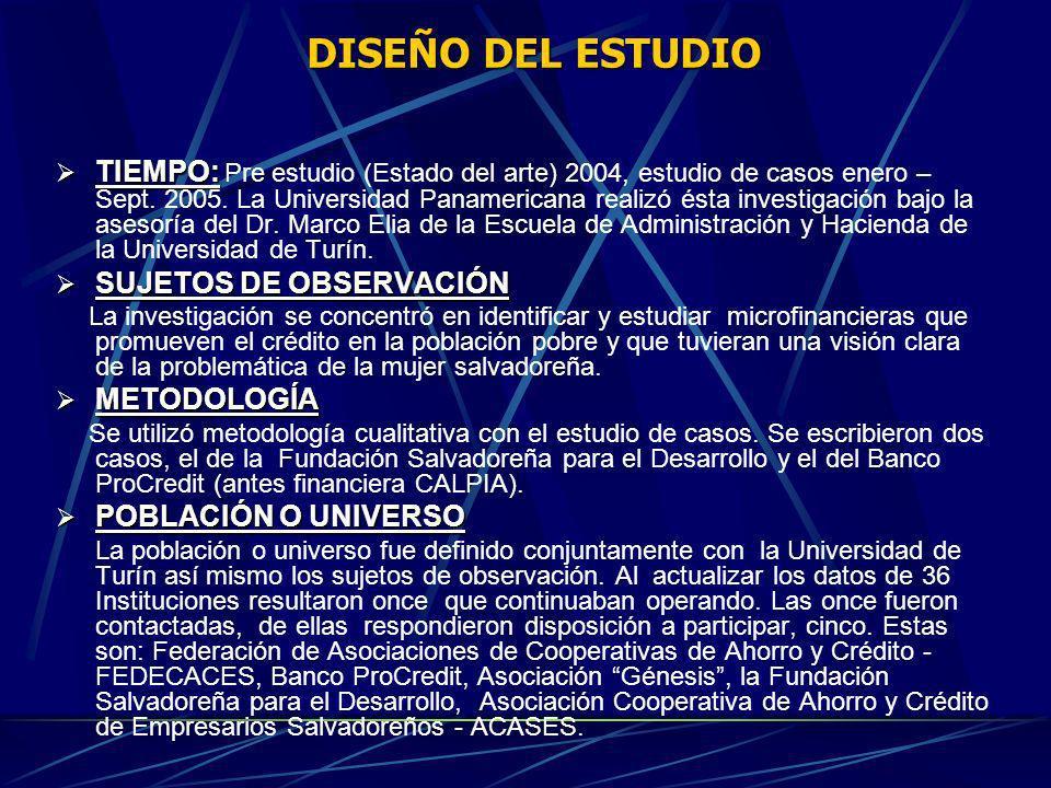 DISEÑO DEL ESTUDIO TIEMPO: TIEMPO: Pre estudio (Estado del arte) 2004, estudio de casos enero – Sept. 2005. La Universidad Panamericana realizó ésta i