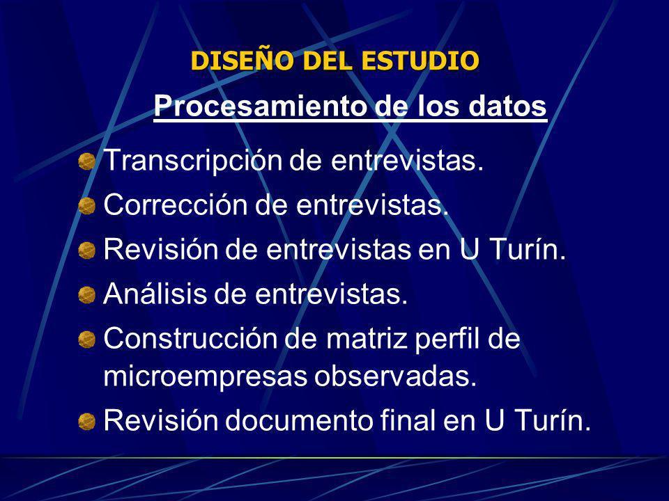 DISEÑO DEL ESTUDIO Procesamiento de los datos Transcripción de entrevistas. Corrección de entrevistas. Revisión de entrevistas en U Turín. Análisis de