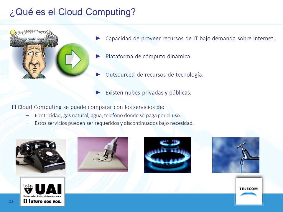 11 ¿Qué es el Cloud Computing? Capacidad de proveer recursos de IT bajo demanda sobre Internet. Plataforma de cómputo dinámica. Outsourced de recursos