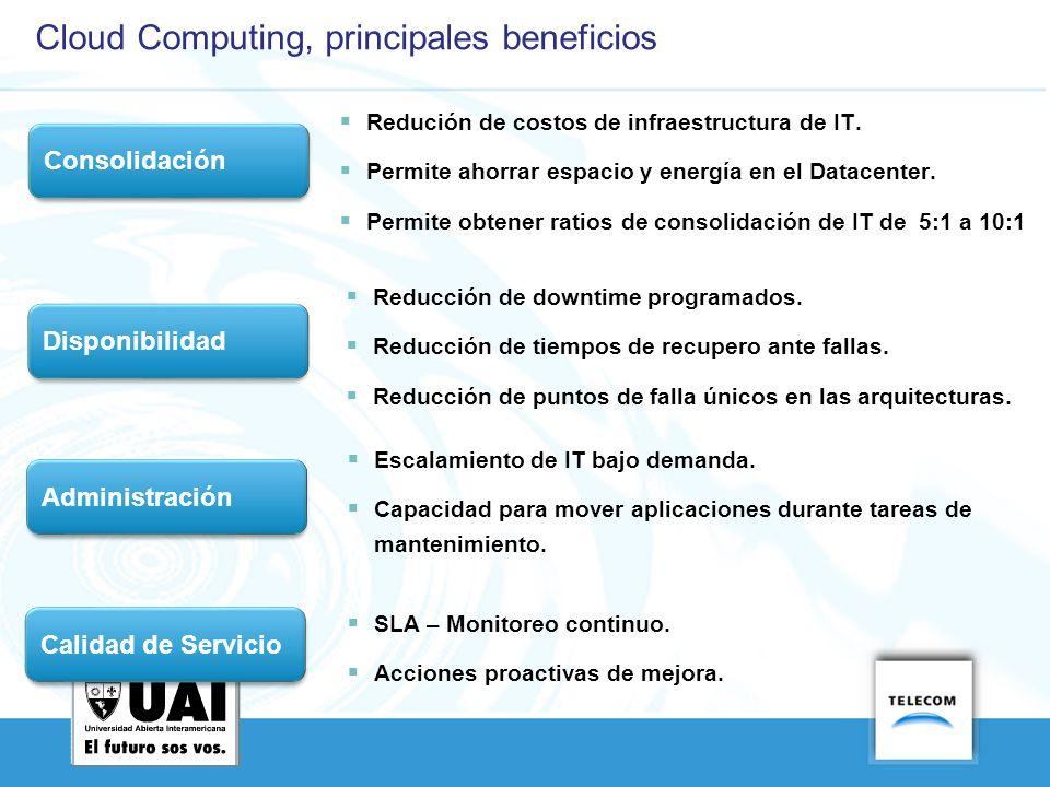 Cloud Computing, principales beneficios Consolidación Redución de costos de infraestructura de IT. Permite ahorrar espacio y energía en el Datacenter.