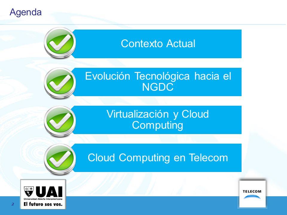 2 Agenda Contexto Actual Evolución Tecnológica hacia el NGDC Virtualización y Cloud Computing Cloud Computing en Telecom