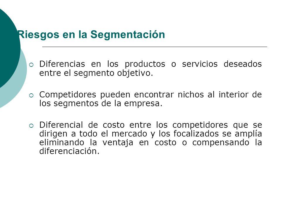 Riesgos en la Segmentación Diferencias en los productos o servicios deseados entre el segmento objetivo.