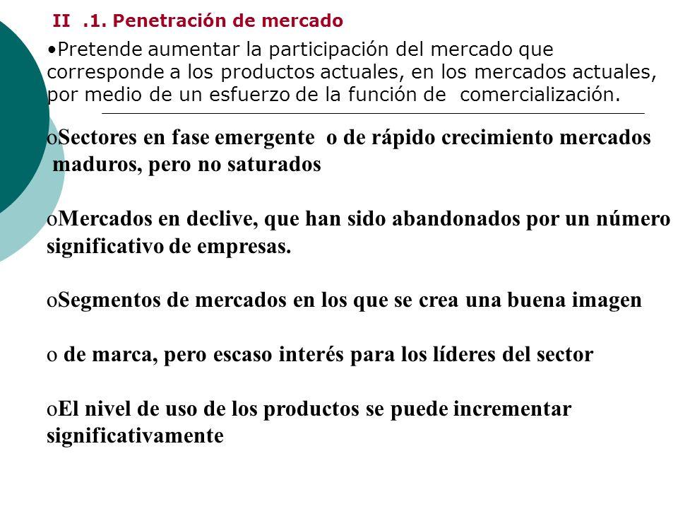 II.1. Penetración de mercado Pretende aumentar la participación del mercado que corresponde a los productos actuales, en los mercados actuales, por me