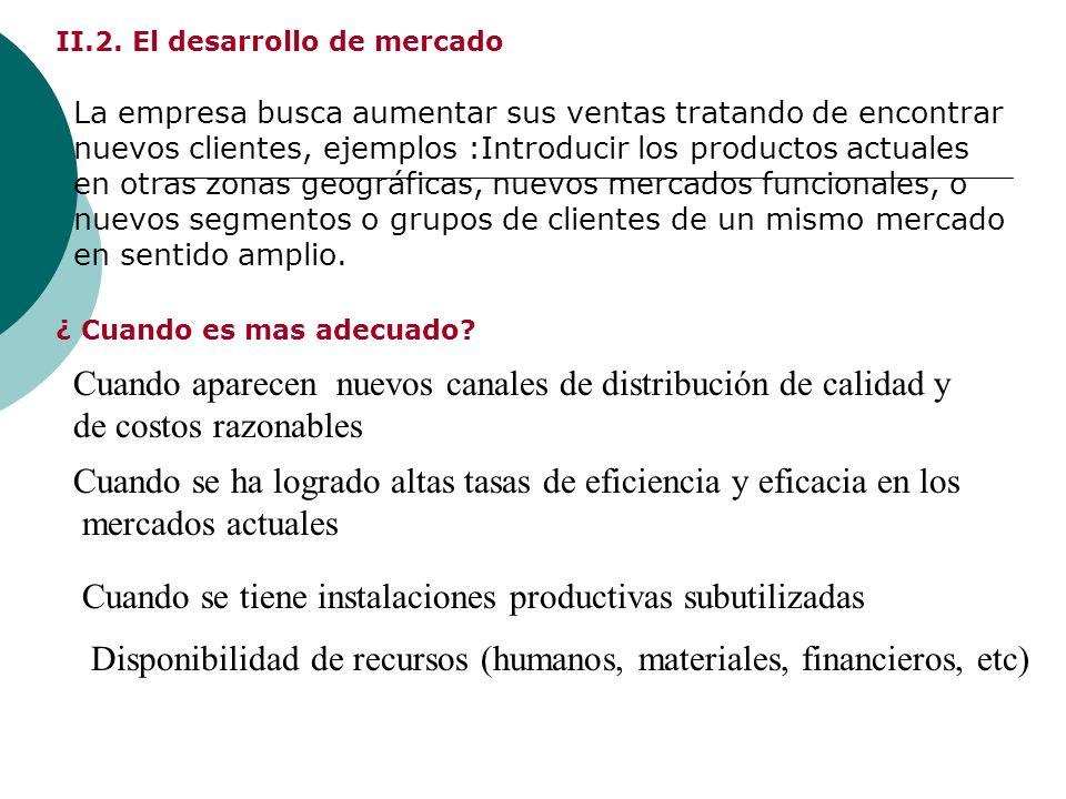 II.2. El desarrollo de mercado La empresa busca aumentar sus ventas tratando de encontrar nuevos clientes, ejemplos :Introducir los productos actuales