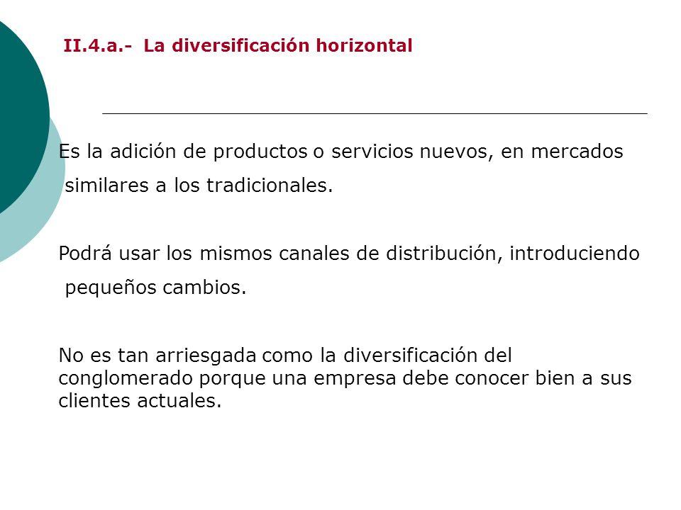 II.4.a.- La diversificación horizontal Es la adición de productos o servicios nuevos, en mercados similares a los tradicionales. Podrá usar los mismos