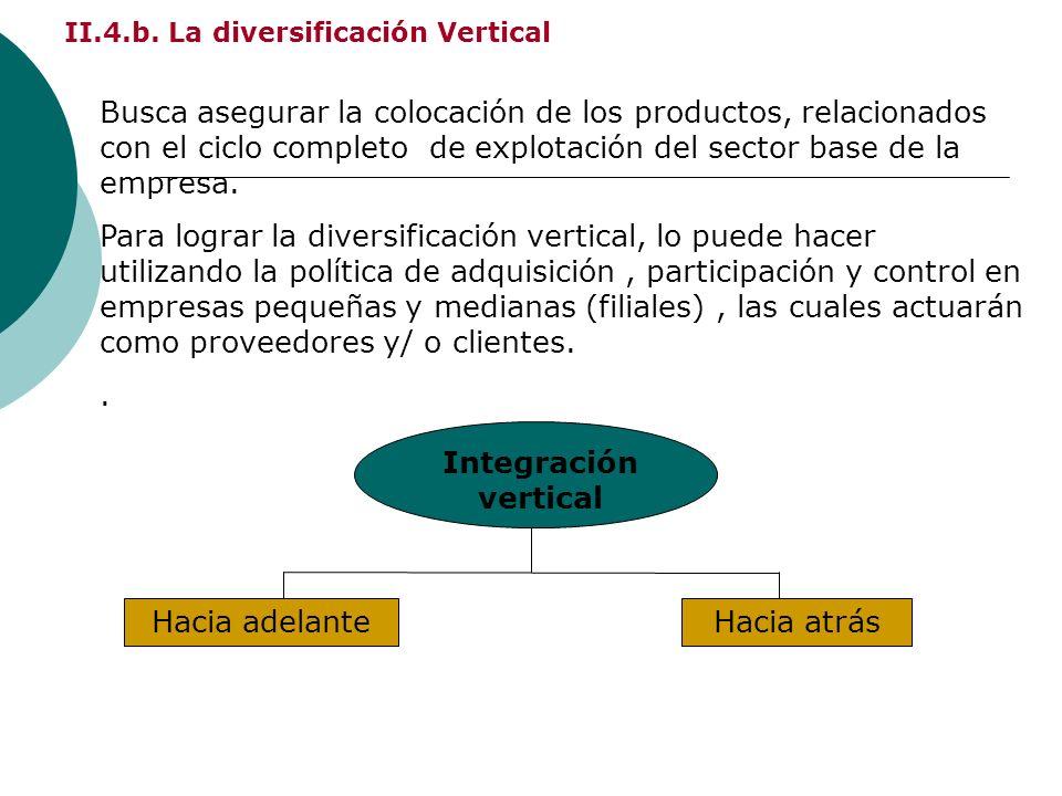II.4.b. La diversificación Vertical Busca asegurar la colocación de los productos, relacionados con el ciclo completo de explotación del sector base d