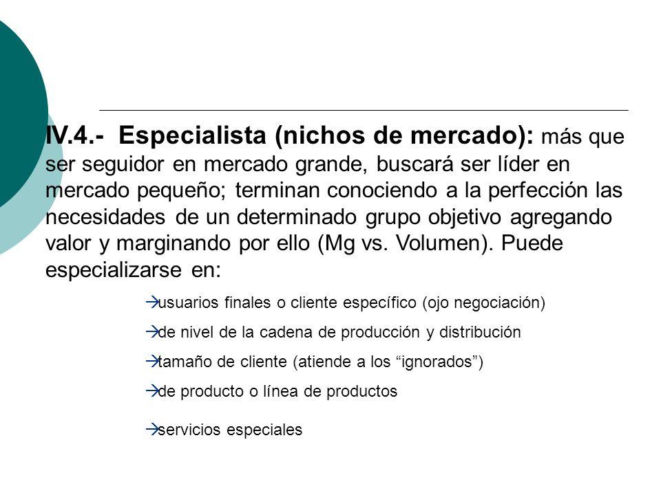 IV.4.- Especialista (nichos de mercado): más que ser seguidor en mercado grande, buscará ser líder en mercado pequeño; terminan conociendo a la perfección las necesidades de un determinado grupo objetivo agregando valor y marginando por ello (Mg vs.