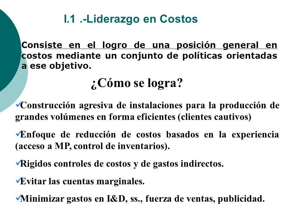I.1.-Liderazgo en Costos Consiste en el logro de una posición general en costos mediante un conjunto de políticas orientadas a ese objetivo.