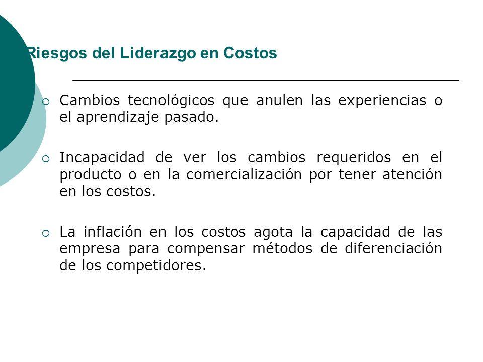 Riesgos del Liderazgo en Costos Cambios tecnológicos que anulen las experiencias o el aprendizaje pasado.