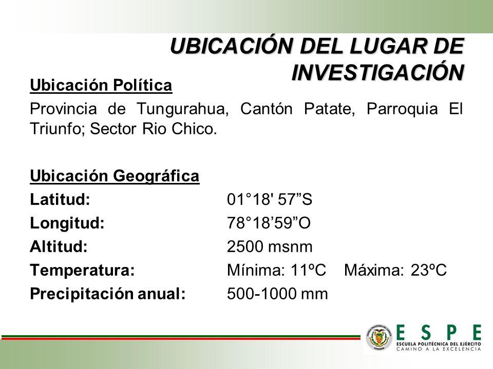 UBICACIÓN DEL LUGAR DE INVESTIGACIÓN Ubicación Política Provincia de Tungurahua, Cantón Patate, Parroquia El Triunfo; Sector Rio Chico.