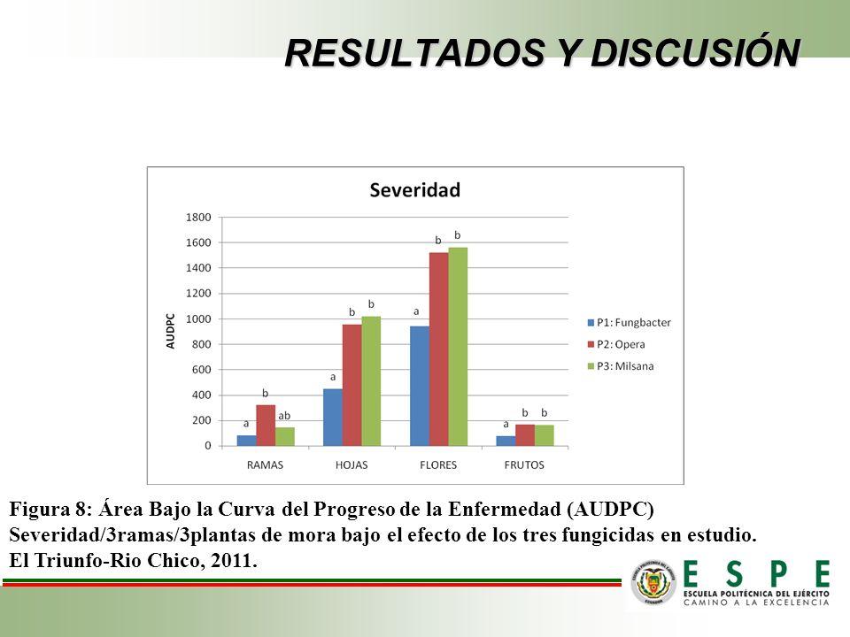 RESULTADOS Y DISCUSIÓN Figura 8: Área Bajo la Curva del Progreso de la Enfermedad (AUDPC) Severidad/3ramas/3plantas de mora bajo el efecto de los tres fungicidas en estudio.