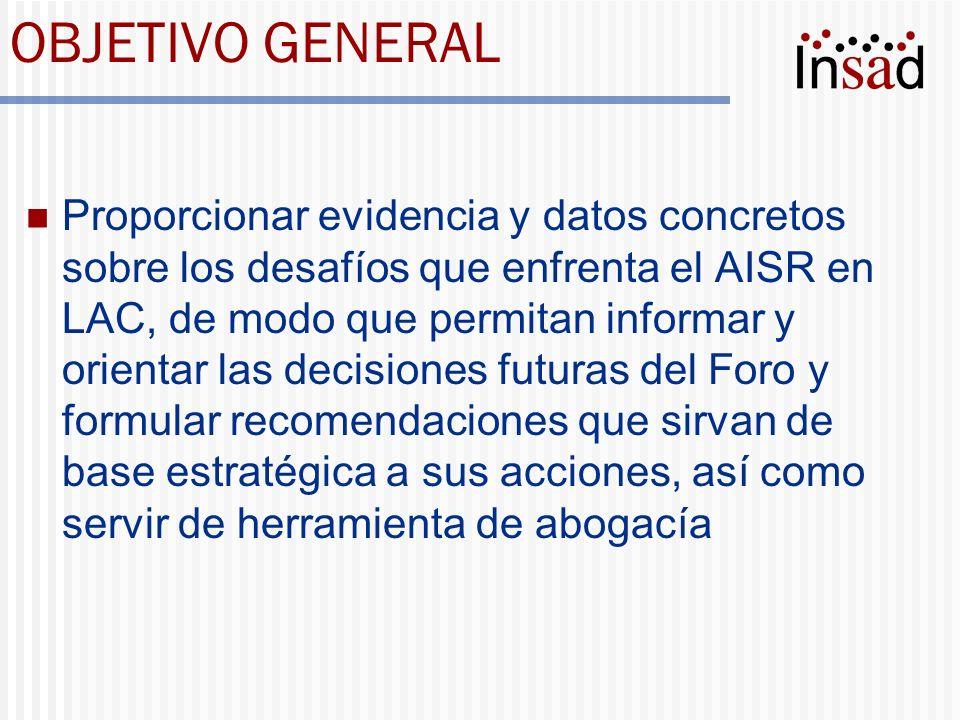 OBJETIVO GENERAL Proporcionar evidencia y datos concretos sobre los desafíos que enfrenta el AISR en LAC, de modo que permitan informar y orientar las