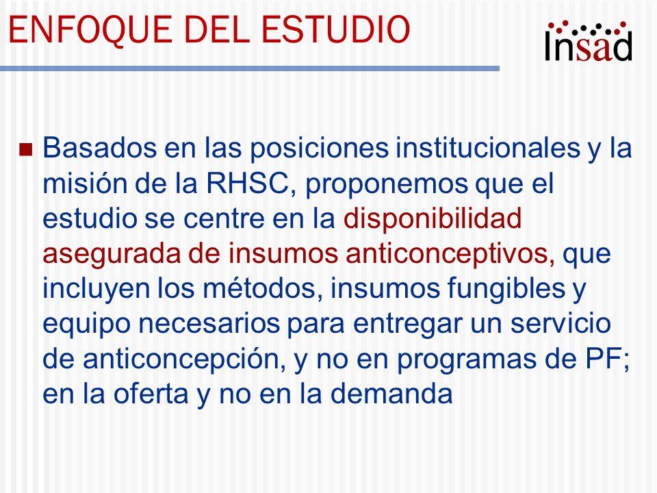 ENFOQUE DEL ESTUDIO Basados en las posiciones institucionales y la misión de la RHSC, proponemos que el estudio se centre en la disponibilidad asegura