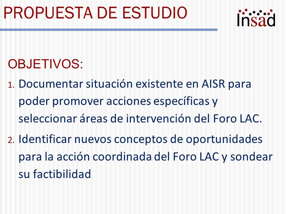 PROPUESTA DE ESTUDIO OBJETIVOS: 1. Documentar situación existente en AISR para poder promover acciones específicas y seleccionar áreas de intervención