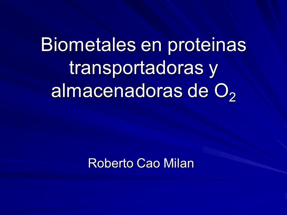 Biometales en proteinas transportadoras y almacenadoras de O 2 Roberto Cao Milan