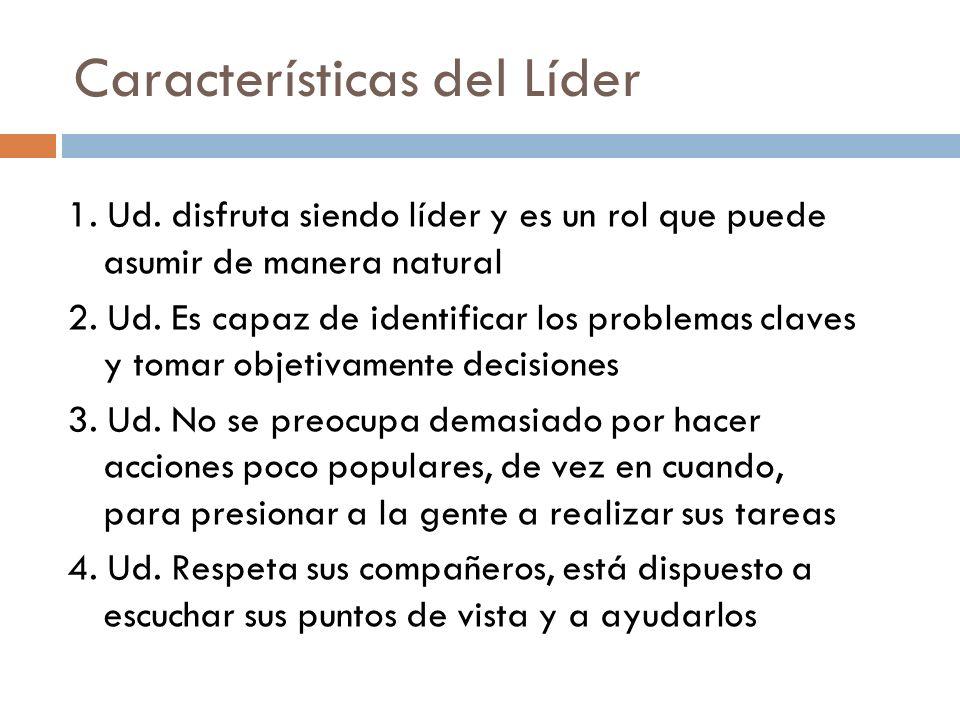 Características del Líder 1. Ud. disfruta siendo líder y es un rol que puede asumir de manera natural 2. Ud. Es capaz de identificar los problemas cla