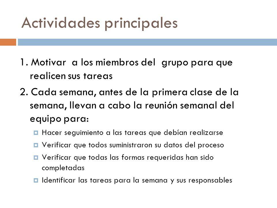 Actividades principales 1. Motivar a los miembros del grupo para que realicen sus tareas 2. Cada semana, antes de la primera clase de la semana, lleva
