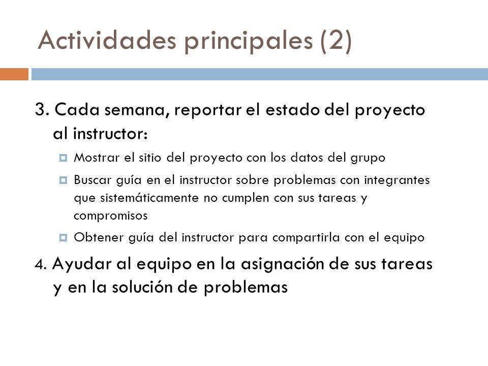 Actividades principales (2) 3. Cada semana, reportar el estado del proyecto al instructor: Mostrar el sitio del proyecto con los datos del grupo Busca