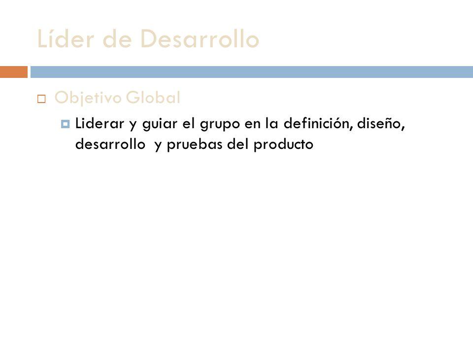 Líder de Desarrollo Objetivo Global Liderar y guiar el grupo en la definición, diseño, desarrollo y pruebas del producto