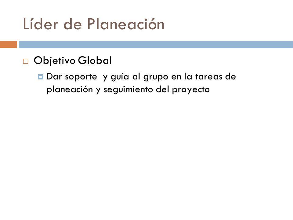 Líder de Planeación Objetivo Global Dar soporte y guía al grupo en la tareas de planeación y seguimiento del proyecto