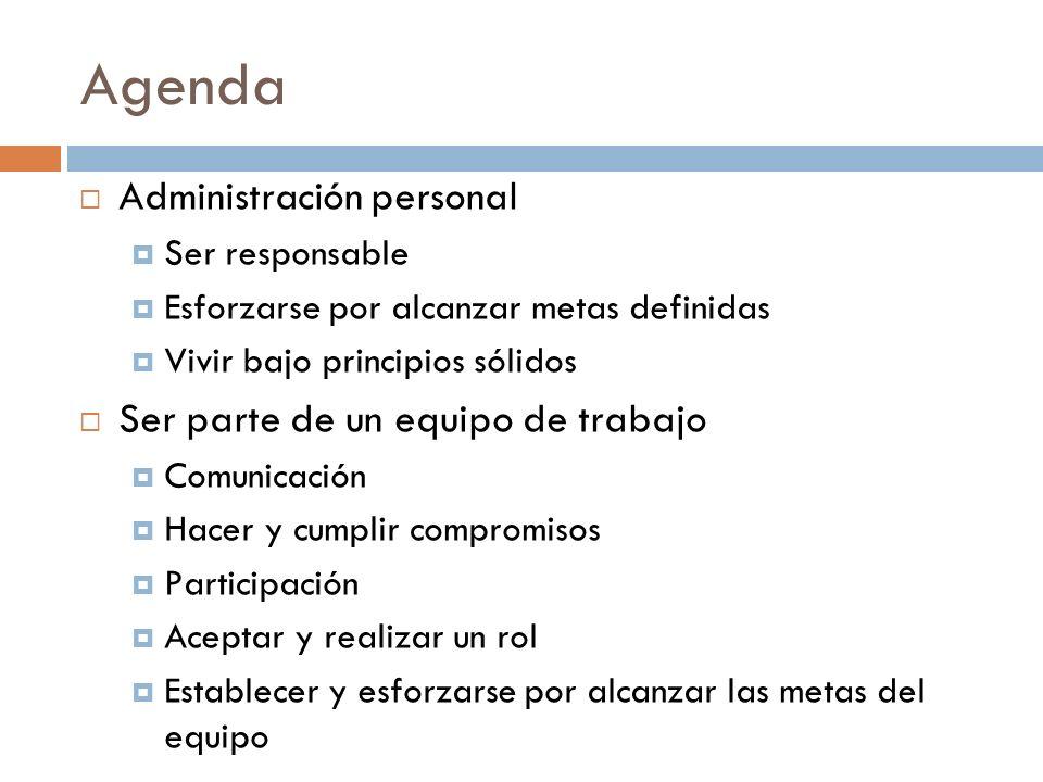Agenda Administración personal Ser responsable Esforzarse por alcanzar metas definidas Vivir bajo principios sólidos Ser parte de un equipo de trabajo
