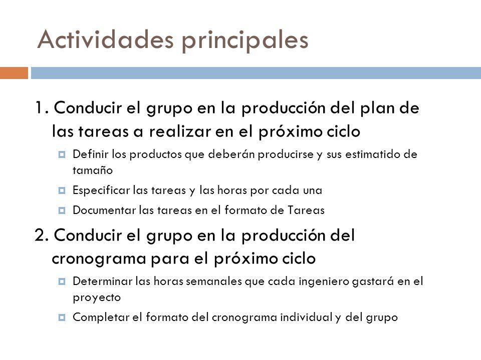 Actividades principales 1. Conducir el grupo en la producción del plan de las tareas a realizar en el próximo ciclo Definir los productos que deberán