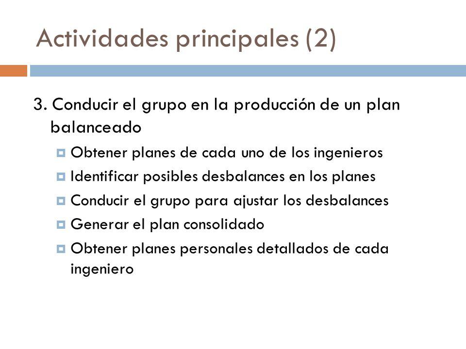 Actividades principales (2) 3. Conducir el grupo en la producción de un plan balanceado Obtener planes de cada uno de los ingenieros Identificar posib
