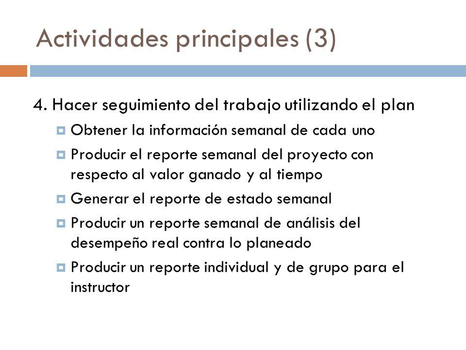 Actividades principales (3) 4. Hacer seguimiento del trabajo utilizando el plan Obtener la información semanal de cada uno Producir el reporte semanal