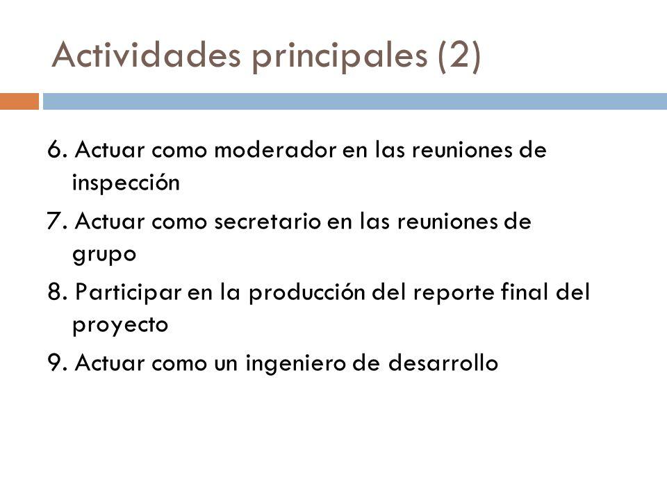 Actividades principales (2) 6. Actuar como moderador en las reuniones de inspección 7. Actuar como secretario en las reuniones de grupo 8. Participar