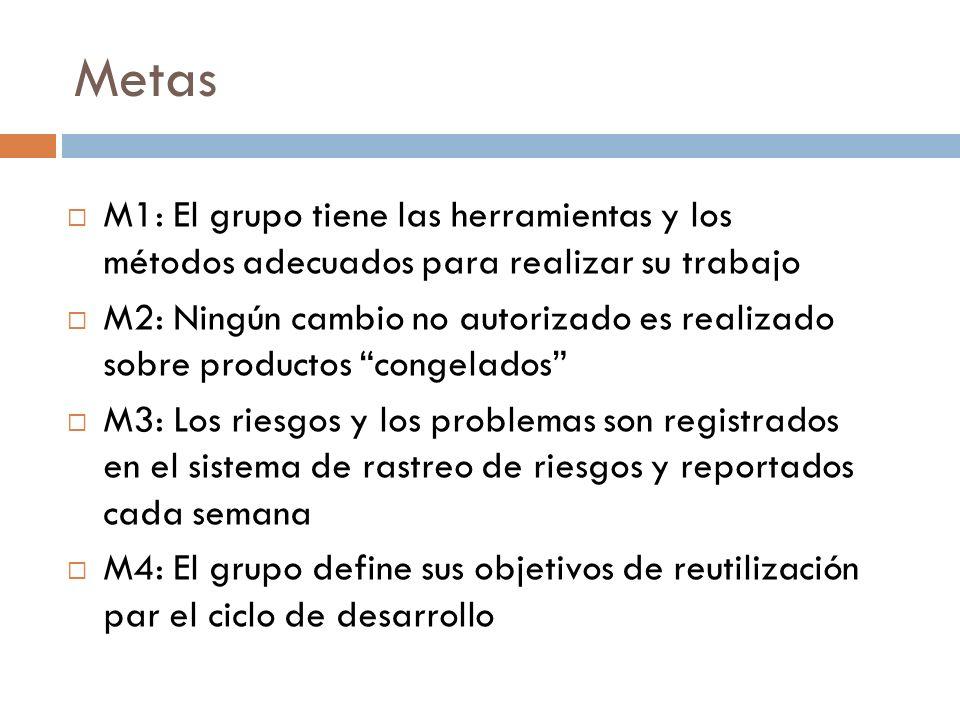 Metas M1: El grupo tiene las herramientas y los métodos adecuados para realizar su trabajo M2: Ningún cambio no autorizado es realizado sobre producto