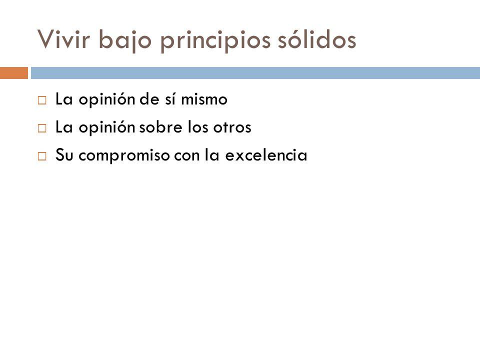 Vivir bajo principios sólidos (2) La opinión de sí mismo Quién es usted.