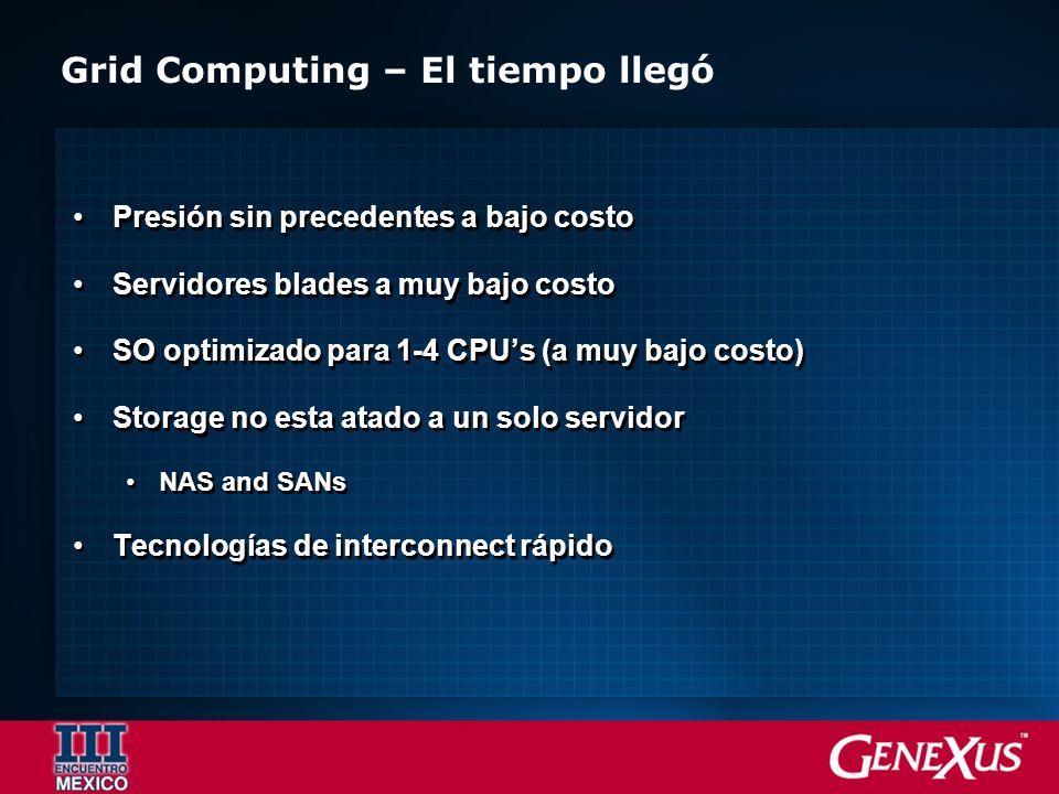 Grid Computing – El tiempo llegó Presión sin precedentes a bajo costo Servidores blades a muy bajo costo SO optimizado para 1-4 CPUs (a muy bajo costo