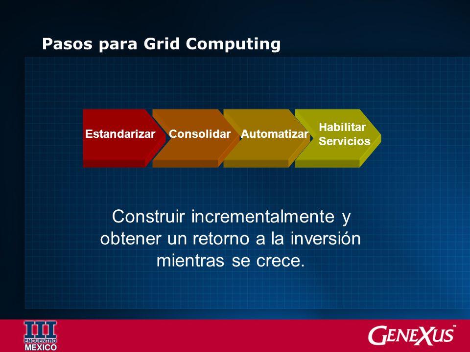 Pasos para Grid Computing EstandarizarConsolidarAutomatizar Habilitar Servicios Construir incrementalmente y obtener un retorno a la inversión mientra