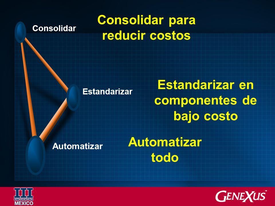Automatizar Consolidar Estandarizar Consolidar para reducir costos Estandarizar en componentes de bajo costo Automatizar todo