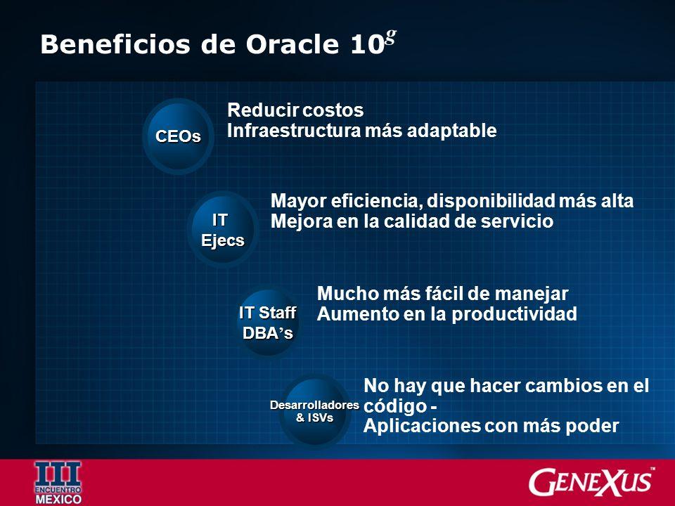 Reducir costos Infraestructura más adaptable CEOs Mayor eficiencia, disponibilidad más alta Mejora en la calidad de servicio ITEjecs Mucho más fácil de manejar Aumento en la productividad IT Staff DBA s No hay que hacer cambios en el código - Aplicaciones con más poder Desarrolladores & ISVs Beneficios de Oracle 10 g