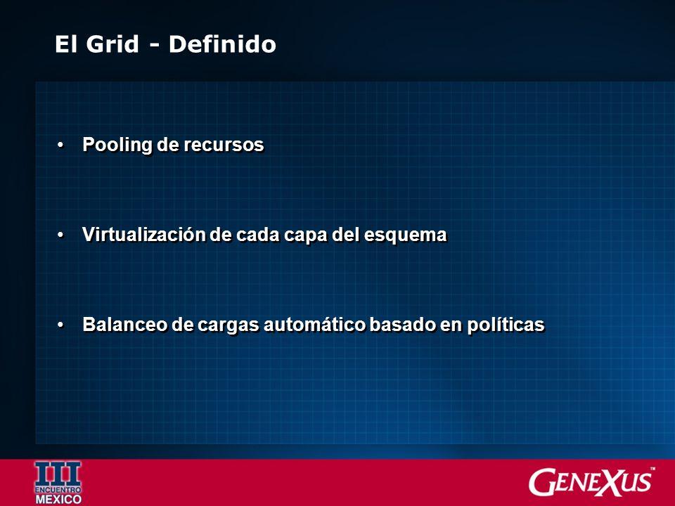 El Grid - Definido Pooling de recursos Virtualización de cada capa del esquema Balanceo de cargas automático basado en políticas Pooling de recursos V
