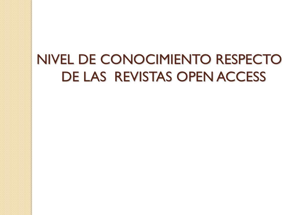 NIVEL DE CONOCIMIENTO RESPECTO DE LAS REVISTAS OPEN ACCESS