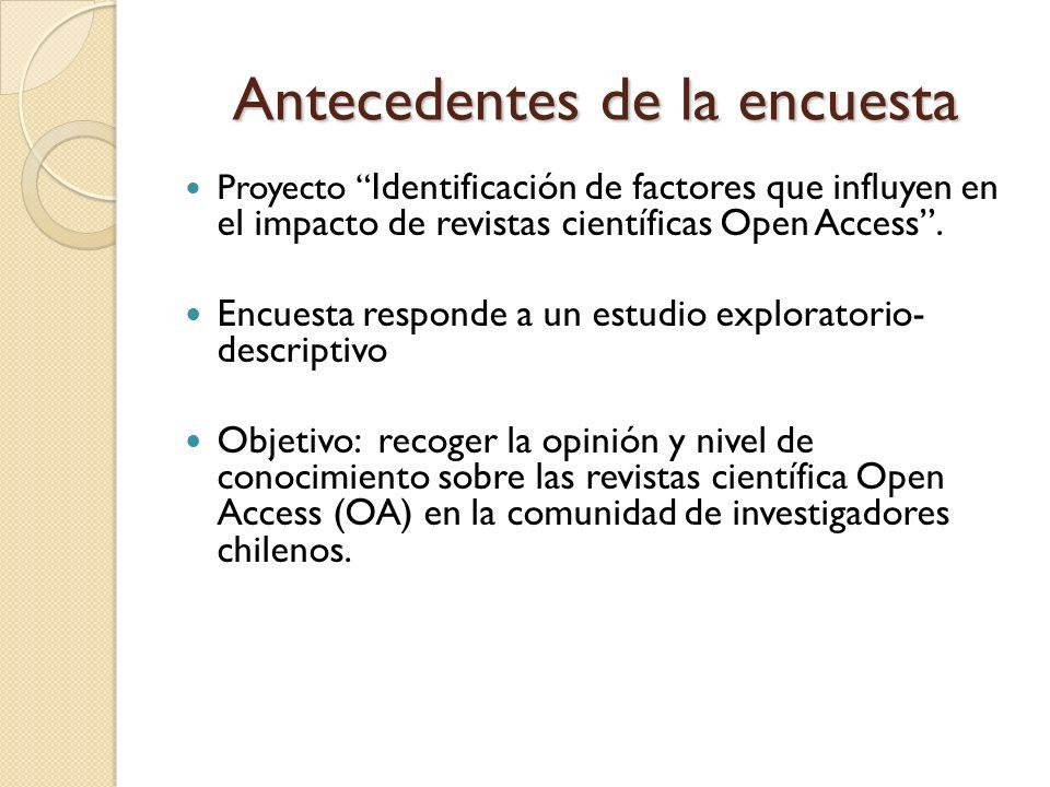 Antecedentes de la encuesta Proyecto Identificación de factores que influyen en el impacto de revistas científicas Open Access.