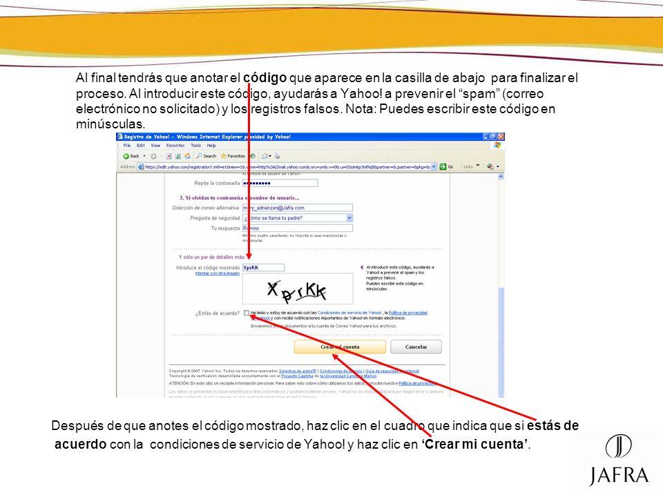 Al final tendrás que anotar el código que aparece en la casilla de abajo para finalizar el proceso. Al introducir este código, ayudarás a Yahoo! a pre