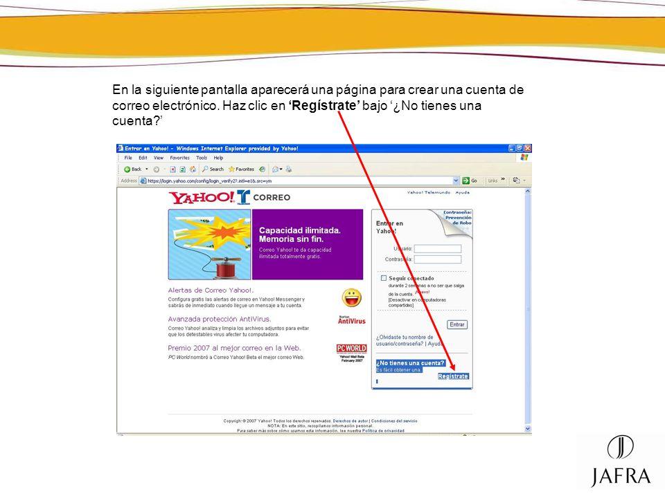 En la siguiente pantalla aparecerá una página para crear una cuenta de correo electrónico. Haz clic en Regístrate bajo ¿No tienes una cuenta?