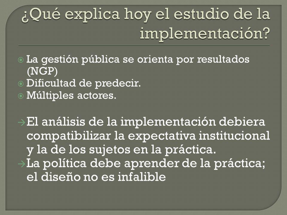 La gestión pública se orienta por resultados (NGP) Dificultad de predecir. Múltiples actores. El análisis de la implementación debiera compatibilizar