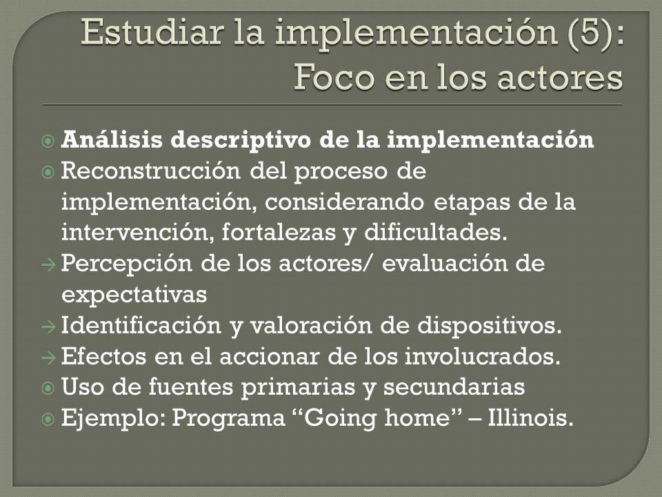 Análisis descriptivo de la implementación Reconstrucción del proceso de implementación, considerando etapas de la intervención, fortalezas y dificulta
